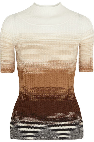 Missoni - Ombré Cable-knit Wool Top - Camel