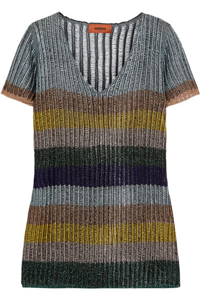 Missoni - Striped Metallic Knitted Top - Silver