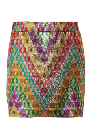 Missoni - Printed Silk-blend Lamé Mini Skirt - Yellow