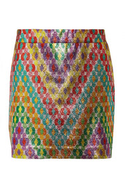 Missoni Printed silk-blend lamé mini skirt