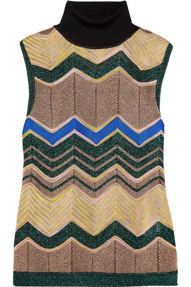 Missoni - Metallic Crochet-knit Turtleneck Top - Camel