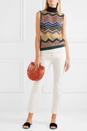 Missoni Metallic crochet-knit turtleneck top