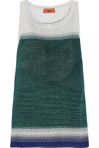 Missoni - Ombré Metallic Stretch-knit Tank - Green