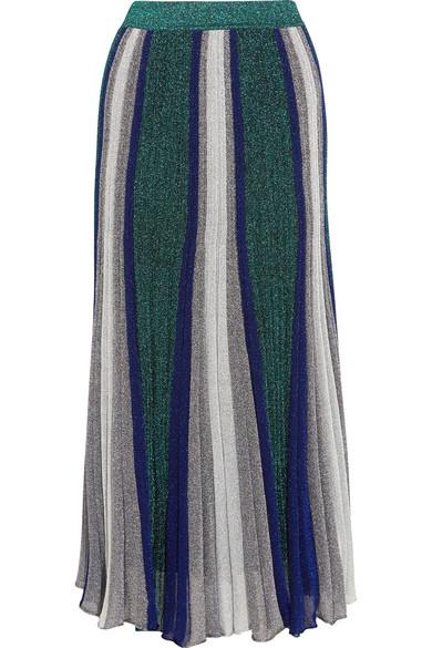 Missoni - Pleated Metallic Stretch-knit Maxi Skirt - Silver