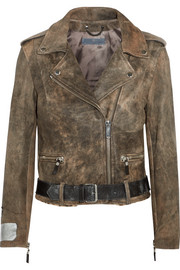 Mini Chiodo calf hair-trimmed leather biker jacket