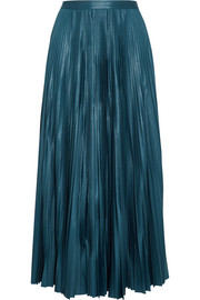 Golden Goose Deluxe Brand Liza striped plissé coated-jersey maxi skirt