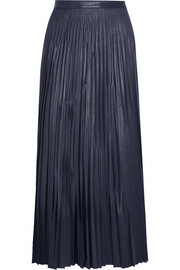 Liza plissé coated-jersey maxi skirt