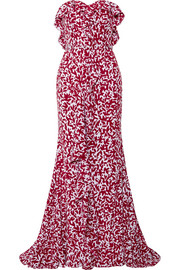 Strapless ruffled printed silk crepe de chine gown