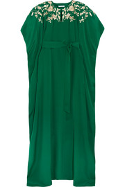 Oscar de la Renta Embroidered embellished silk crepe de chine gown