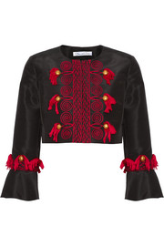 Oscar de la Renta Tasseled embroidered silk-faille jacket