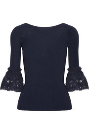 Corded lace-trimmed ribbed merino wool top