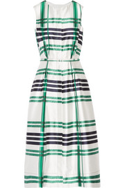 Oscar de la Renta Plaid silk and cotton-blend midi dress