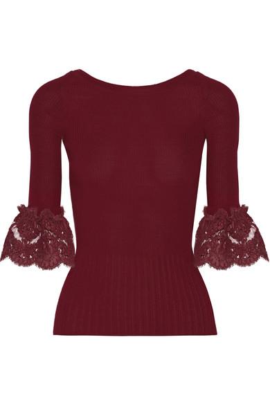 Oscar de la Renta - Corded Lace-trimmed Ribbed Merino Wool Top - Burgundy