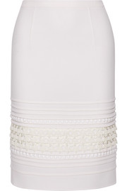Oscar de la Renta Crochet-paneled pintucked stretch-crepe skirt