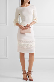 Crochet-paneled pintucked stretch-crepe skirt