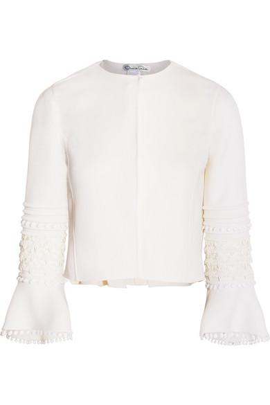 Oscar de la Renta - Guipure Lace-trimmed Wool-blend Jacket - Ivory