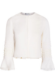 Guipure lace-trimmed wool-blend jacket