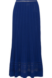 Oscar de la Renta Fluted stretch-knit maxi skirt