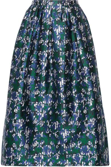 Oscar de la Renta - Printed Silk-mikado Midi Skirt - Blue