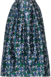 Printed silk-mikado midi skirt