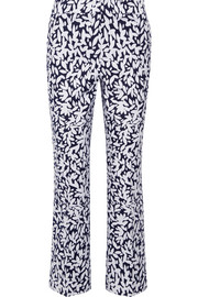 Cropped printed stretch-canvas straight-leg pants