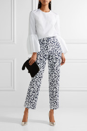 Oscar de la Renta Cropped printed stretch-canvas straight-leg pants
