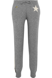 Billie intarsia metallic-trimmed cashmere-blend track pants