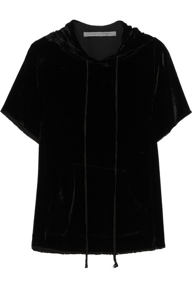 Velvet Hooded Top - Black Raquel Allegra Buy Cheap Shop Free Shipping Pay With Paypal Clearance Footlocker Discount Ebay Online Shop WTU9wkun