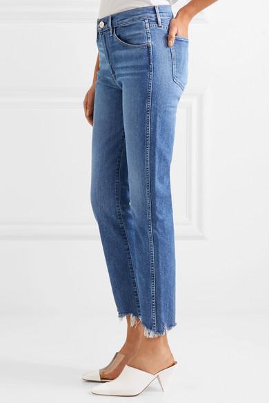 3x1 W3 hoch sitzende, verkürzte Jeans mit geradem Bein und gefransten Kanten