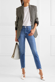 W3 cropped frayed high-rise straight-leg jeans