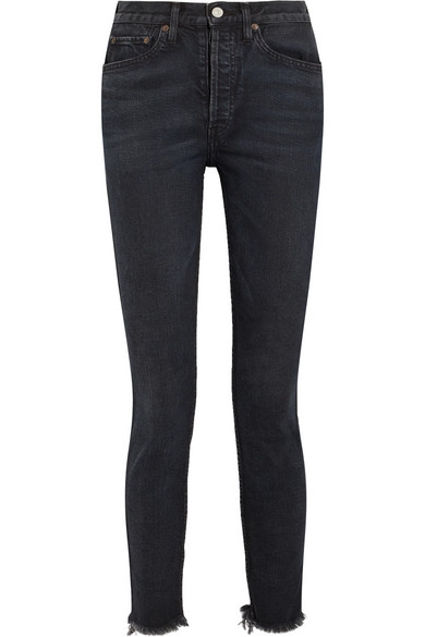 RE/DONE - Originals High-rise Ankle Crop Frayed Skinny Jeans - Black at NET-A-PORTER