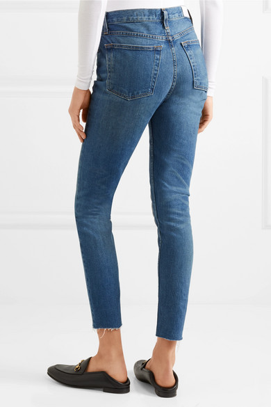 0eb9e804f95b RE DONE. Originals High-Rise Ankle Crop frayed skinny jeans.  108. Play