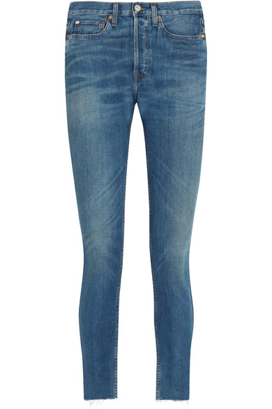 RE/DONE - Originals High-rise Ankle Crop Frayed Skinny Jeans - Blue at NET-A-PORTER