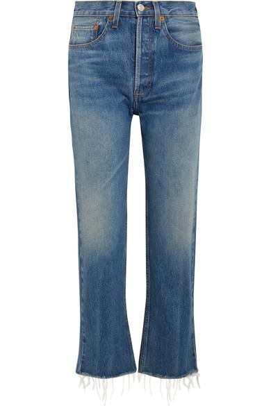 Originals High-rise Stove Pipe Distressed Straight-leg Jeans - Black Re/Done oaI2UfH1V
