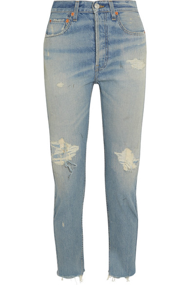 RE/DONE - High-rise Ankle Crop Distressed Slim-leg Jeans - Blue at NET-A-PORTER