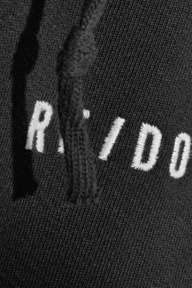 RE/DONE Verkürztes Kapuzenoberteil aus Jersey aus Stretch-Baumwolle mit Stickerei