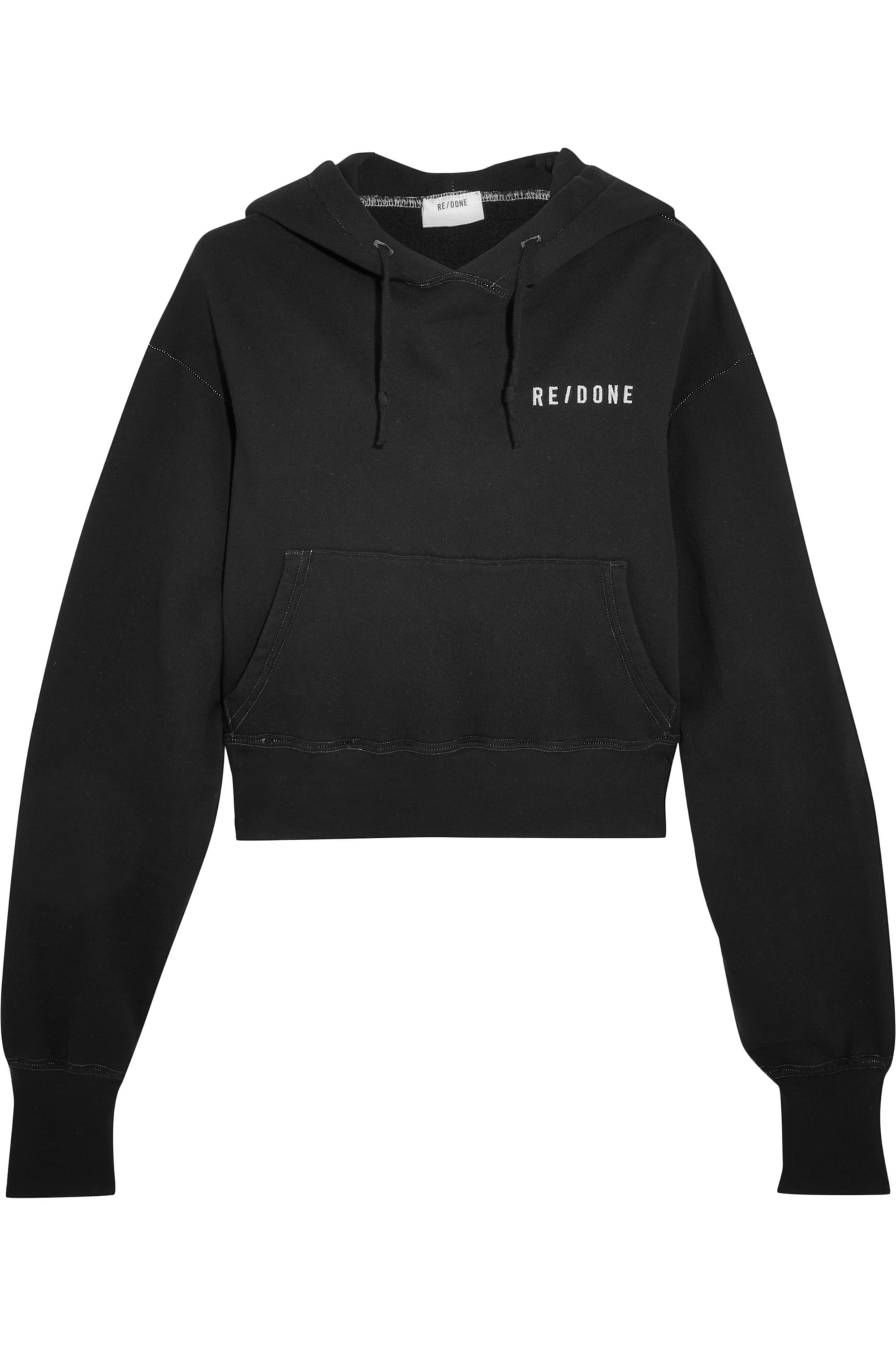 RE/DONE Cropped embroidered stretch-cotton jersey hooded top