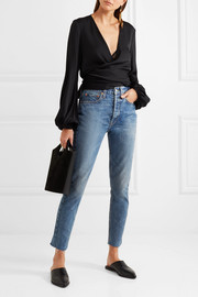 Originals Relaxed Crop frayed high-rise straight-leg jeans
