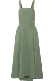 The Apron Cotton-canvas Midi Dress - Army green The Great. 1qlSWZOHzx