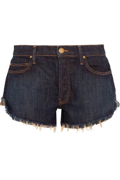 The Great - The Cut Off Frayed Denim Shorts - Navy at NET-A-PORTER