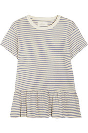 The Ruffle striped cotton-jersey T-shirt