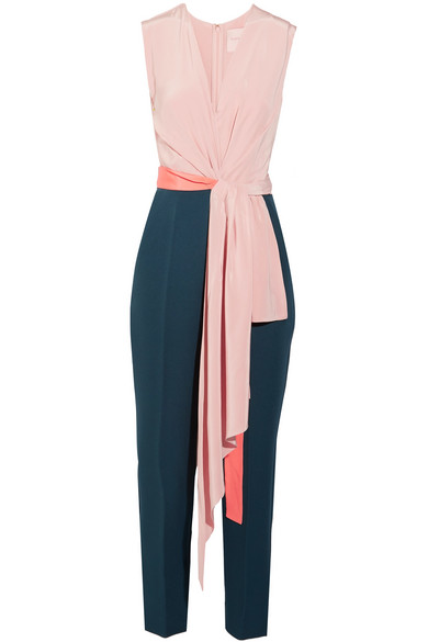 Roksanda - Rokuro Crepe De Chine And Jersey Jumpsuit - Blush