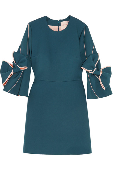 Roksanda - Harlin Bow-embellished Stretch-crepe Mini Dress - Petrol