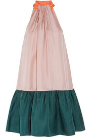 Elva color-block silk-twill halterneck dress