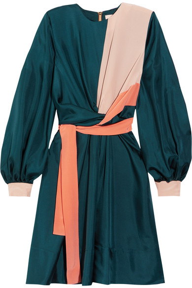 Roksanda - Gyda Twist-front Color-block Silk-twill Dress - Petrol
