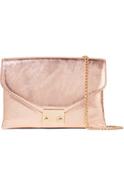 Lock Jr metallic textured-leather clutch