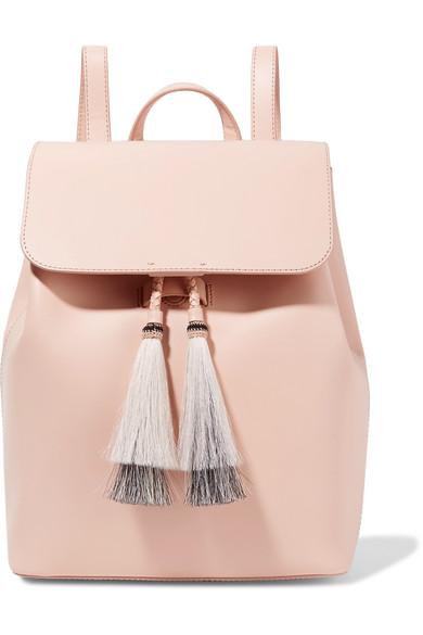 Tassel-trimmed leather backpack