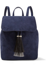 Horse hair-trimmed suede backpack