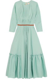 Roksanda Varena grosgrain-trimmed ruched cotton-poplin midi dress