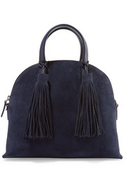 Loeffler Randall Dome leather-trimmed suede satchel
